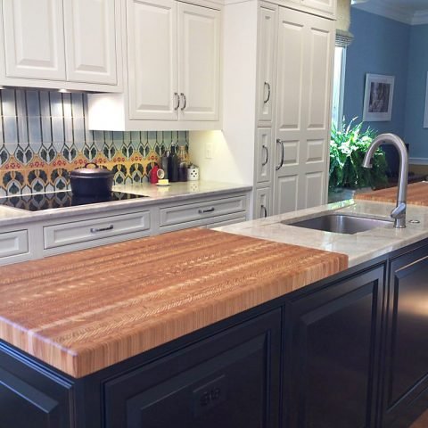 An expansive double ended custom made countertop by Larch Wood Canada.