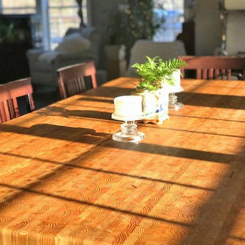 A lovely customers designed Larch Wood dining table.