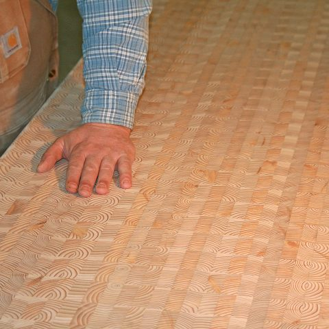 The beautiful end grain design even presents itself in an unfinished countertop.